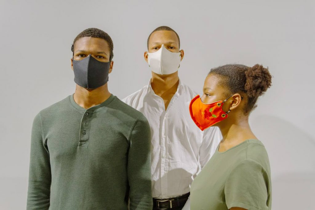 The Riley siblings, Joshua, Cianna and Elijah Riley, wear the CARIRI-tested 95 particulate filtration mask they developed. The design was spawned in response to the covid19 pandemic. -