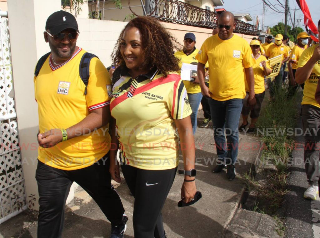 UNC general election candidate for Tabaquite Anita Haynes looks confident as a walkabout in the constituency on Wednesday reached Charles Street in Gasparillo. - Vashti Singh
