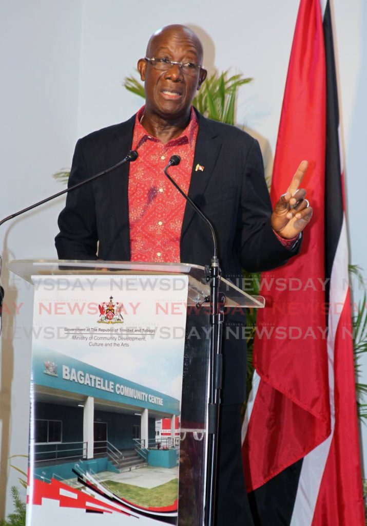 Prime Minister Dr Keith Rowley at the opening of the Bagatelle Community Centre, Diego Martin on Friday. He returned to the centre on Saturday for the launch of the PNM's general election campaign. PHOTO BY ROGER JACOB -
