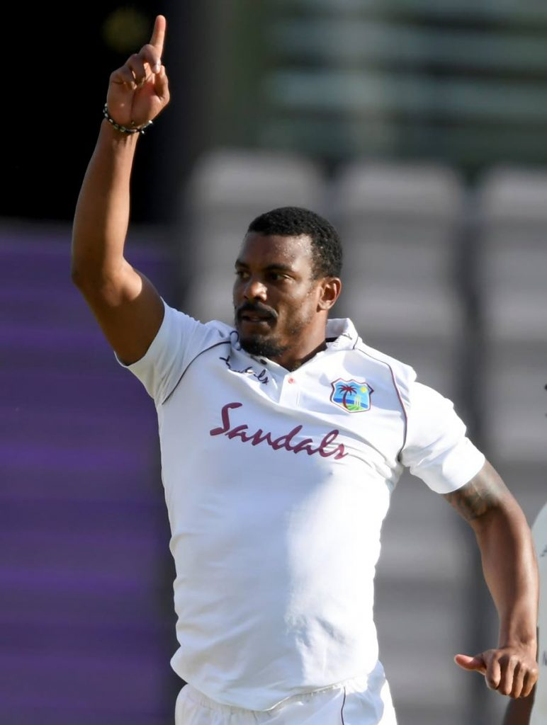 West Indies' Shannon Gabriel celebrates the dismissal of England's Ollie Pope during the fourth day of the first Test match between England and West Indies, at the Ageas Bowl in Southampton, England, on Saturday. (AP PHOTO) -
