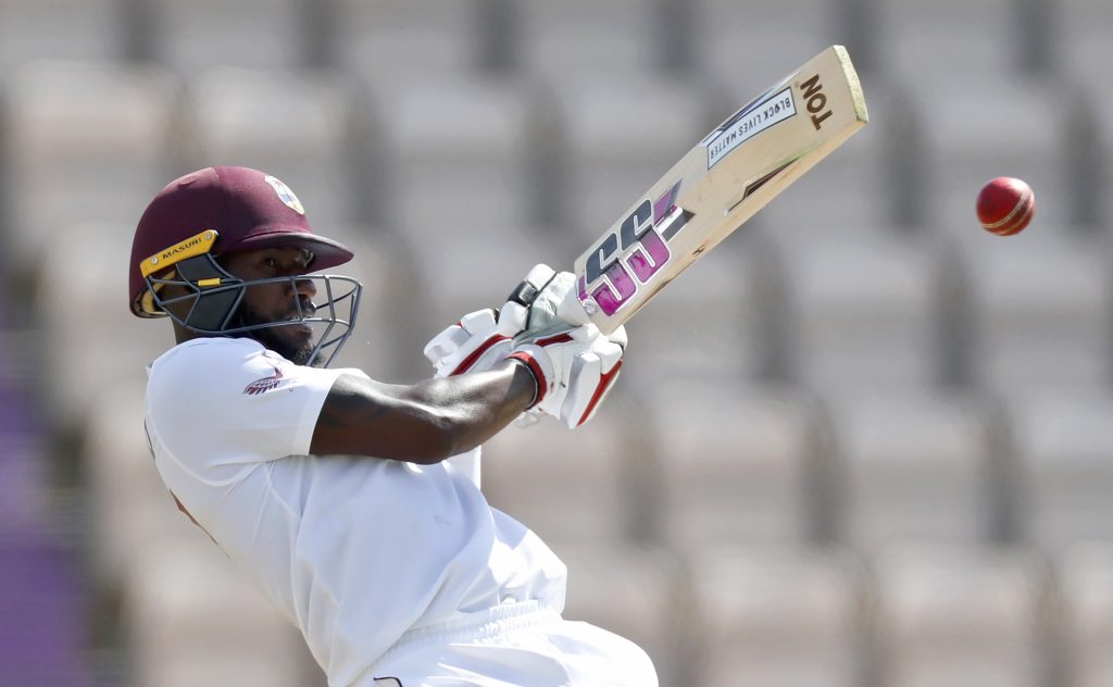 West Indies' Jermaine Blackwood plays a shot during the fifth day of the first cricket Test match between England and West Indies, at the Ageas Bowl in Southampton, England, Sunday, July 12, 2020. (Adrian Dennis/Pool via AP)