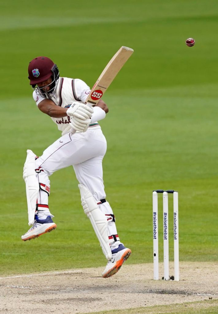 West Indies' Shai Hope bats during the last day of the second Test match between England and West Indies at Old Trafford in Manchester, England, on Monday. (AP Photo) -