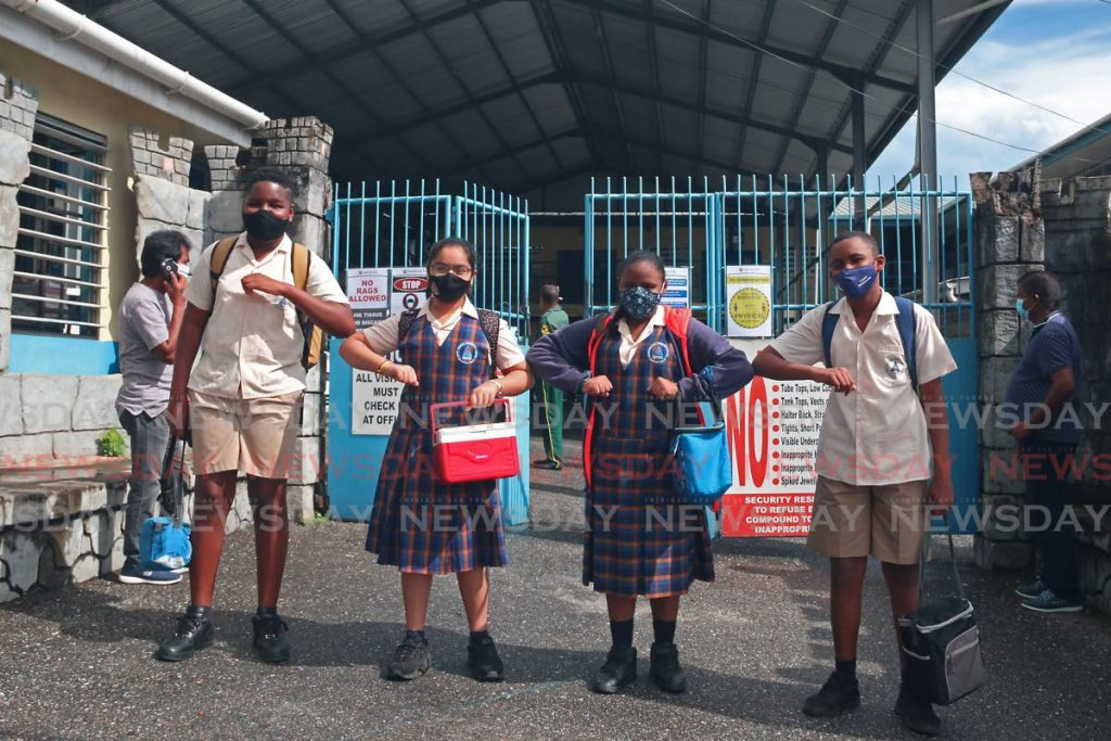 Happy SEA students of Grant Memorial Presbyterian School in San Fernando returned to school, they were all in high spirits despite having to conform to the new normal of wearing face masks and physical distancing.  - Marvin Hamilton