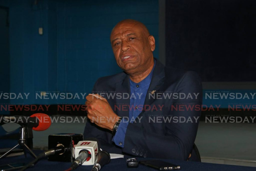 OWTU president general Ancel Roget addresses reporters on Thursday on the status of the acqusition of the Petrotrin refinery by the union's Patriotic Energies company.  - Marvin Hamilton