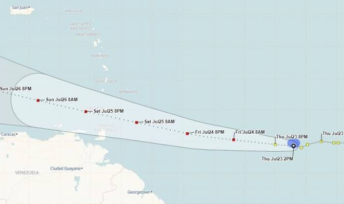 Tropical Storm Gonzalo's path projected by the TT Met Office at 2.30 pm Thursday. At 4.30 pm, the Met Office said Tobago was under a tropical storm watch. IMAGE COURTESY TT MET OFFICE -