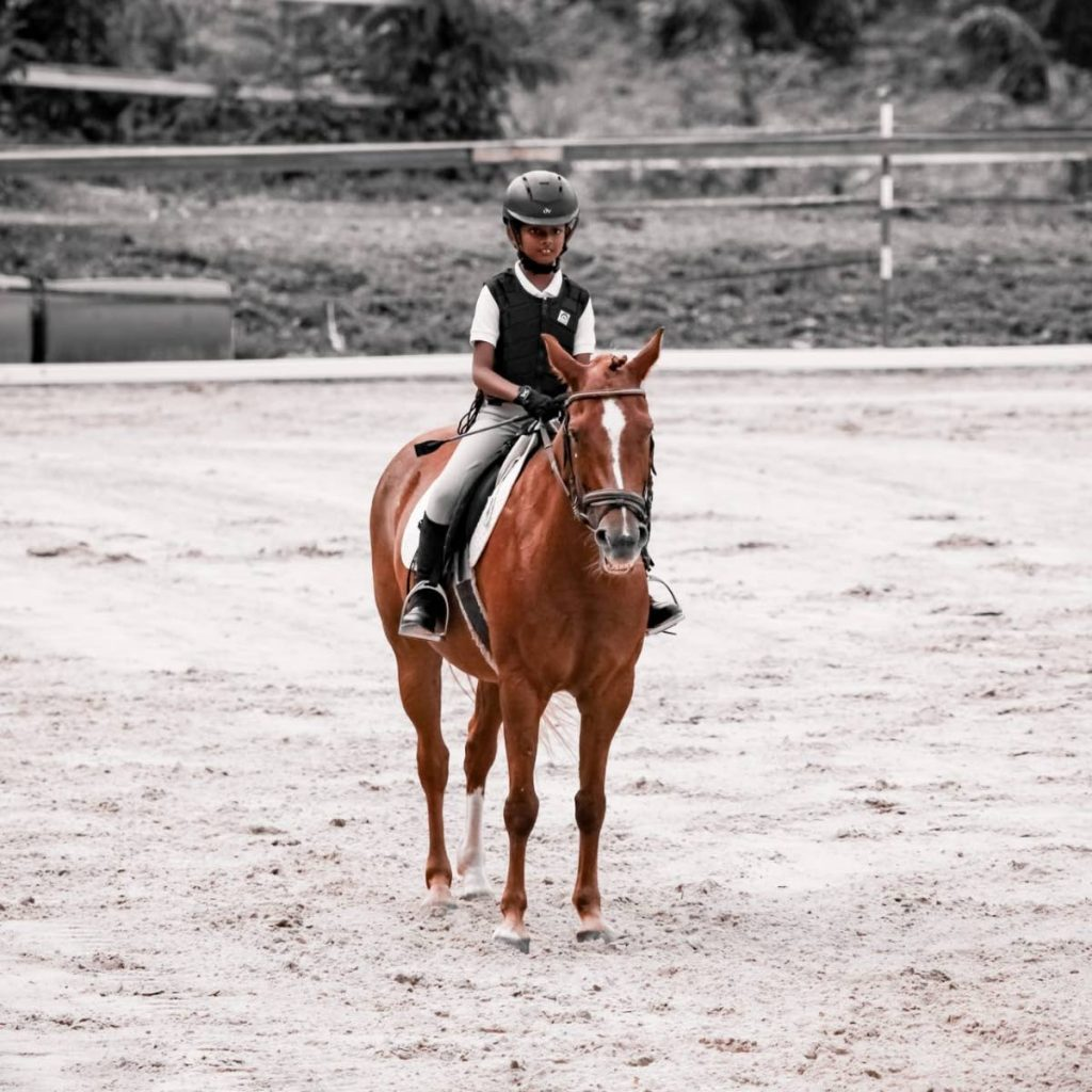 Azaria Ramnath on her horse Madame Bean -
