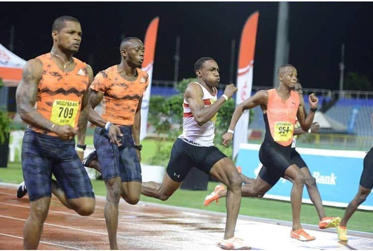 TT sprinter Jalen Purcell, third from left, is intent on returning to the US to resume his academic and athletic training. -