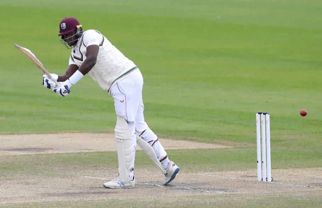 West Indies' captain Jason Holder bats during the fifth day of the third Test match between England and West Indies at Old Trafford in Manchester, England, on Tuesday. (AP PHOTO) -