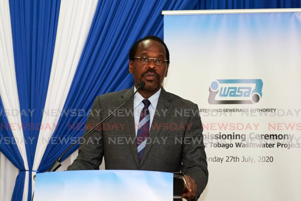 Public Utilities Minister Fitzgerald Hinds at a commissioning ceremony for a new wastewater facility in southwest Tobago on Monday. - LEEANDRO NORAY