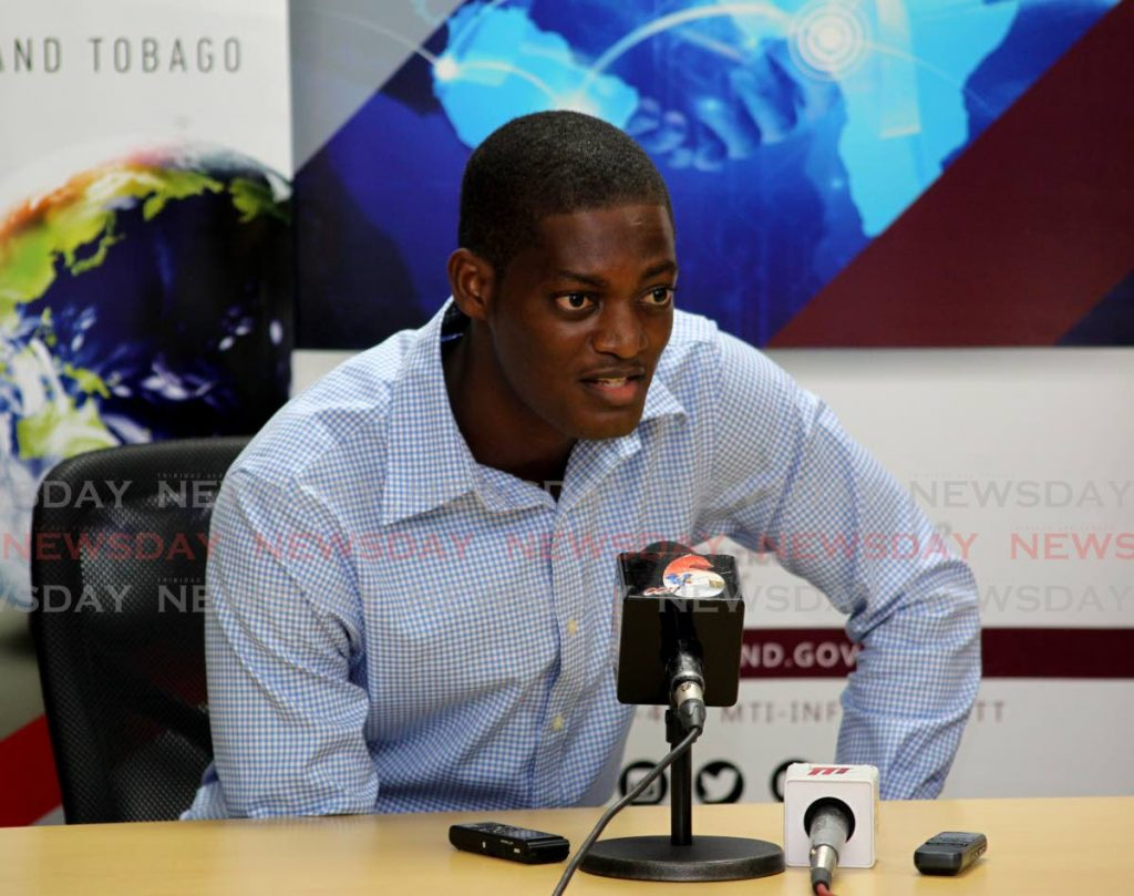 Kaijah Codrington CEO of the Codrington Family Institute speaks about plans for a steelpan grant wihch the institute got from the Ministry of Trade and Industry on Wednesday. - ROGER JACOB