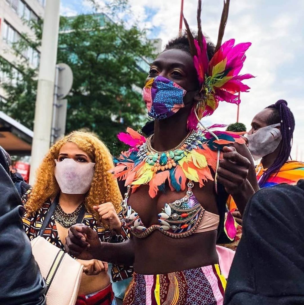 A masquerader in the July 19 Vienna Carnival. It is one of the few physical carnivals held globally for 2020. -