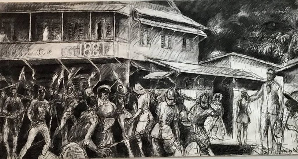 """Canboulay Riots (Re-Enactment) by Donald """"Jackie"""" Hinkson. -"""