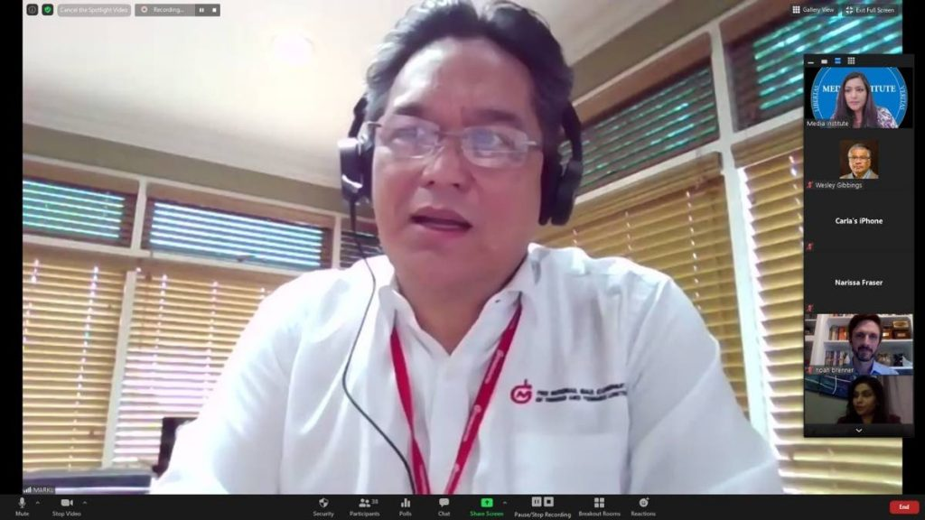 NGC president Mark Loquan addresses participants in one of the sessions of a two-week energy journalism  webinar held from June 3 to July 8. -