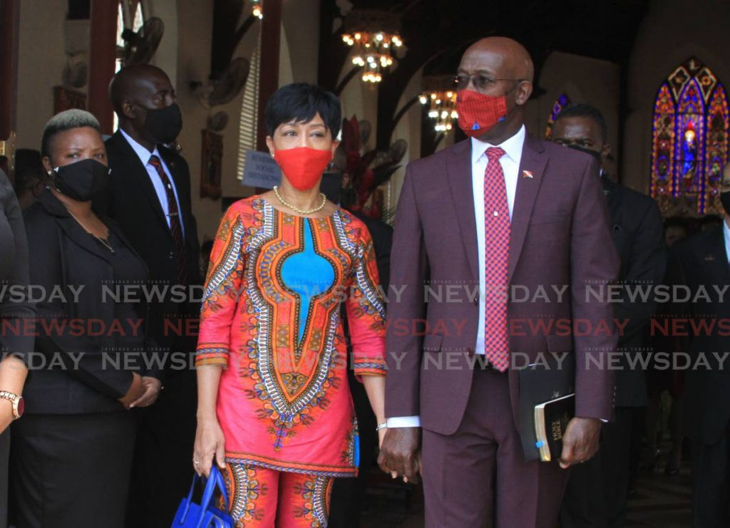 Prime Minister Dr Keith Rowley and his wife Sharon leave the St Patrick's RC Church in Port of Spain after the National Day of Prayer service on Sunday. - Ayanna Kinsale