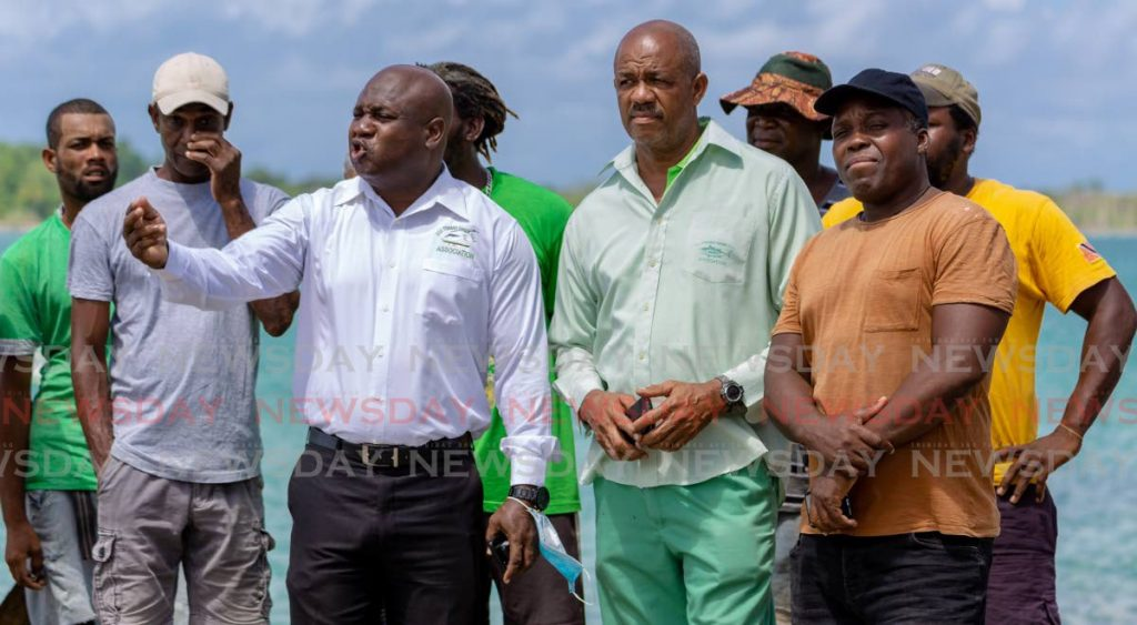 Members of the All Tobago Fisherfolk Association at a recent press conference at the Buccoo jetty. - DAVID REID