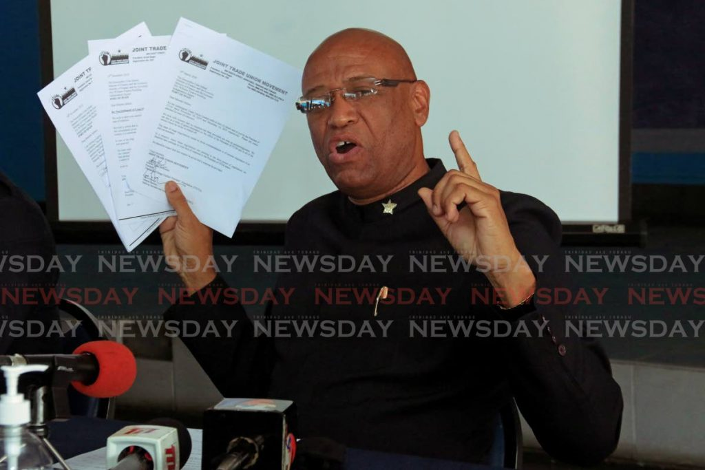 OWTU president general Ancel Roget at a news conference on Tuesday.  PHOTO BY MARVIN HAMILTON -