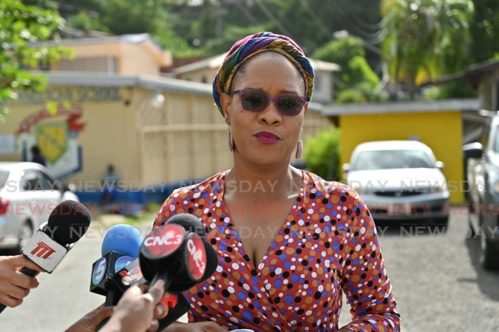 PNM Tobago East candidate Ayanna Webster-Roy tells the media that voting makes her excited, after casting her ballot on Monday at the Roxborough Anglican School. PHOTO BY LEEANDRO NORAY  -