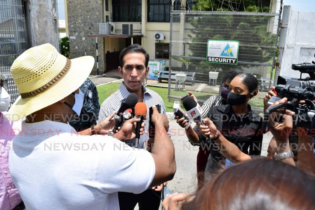 PNM candidate for San Fernando West Faris Al-Rawi speaks to the media outside of the San Fernando West Secondary school after voting on Monday. - Vidya Thurab