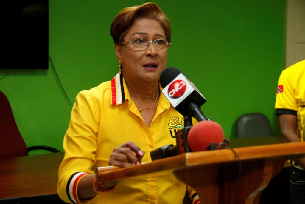 In this file photo, UNC leader Kamla Persad-Bissessar addresses the media at her constituency office in Siparia after the August 10 general election. - Marvin Hamilton