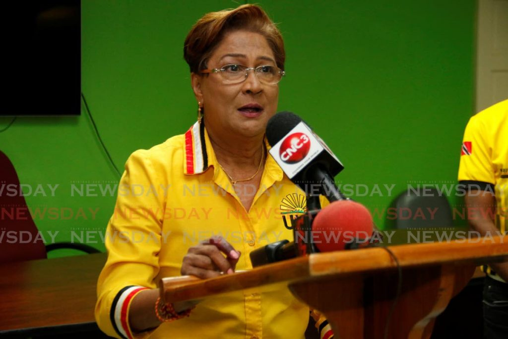 UNC leader Kamla Persad-Bissessar speaks to the media at her constituency office in Siparia on Monday night, after the general election. - Marvin Hamilton