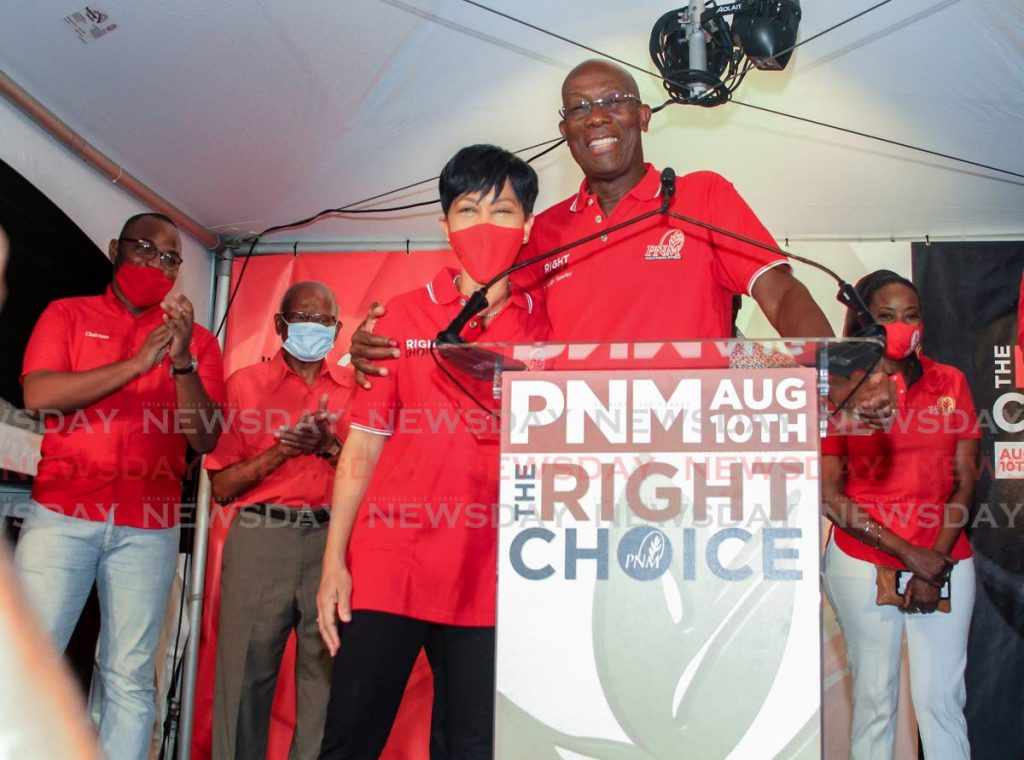 File photo: Prime Minister Keith Rowley gives his wife Sharon a hug after being re-elected at Balisier House, Port of Spain.  - Ayanna Kinsale