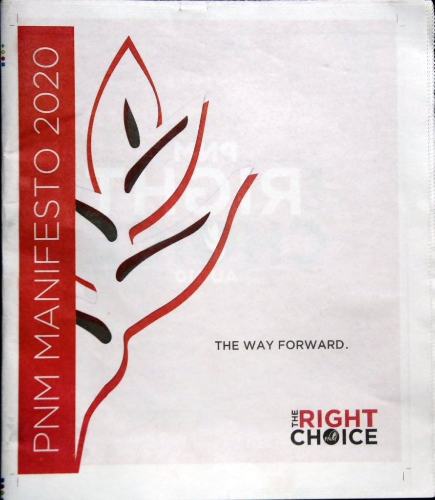 The PNM manifesto 2020 which ws published and distributed before the August 10 general election. -