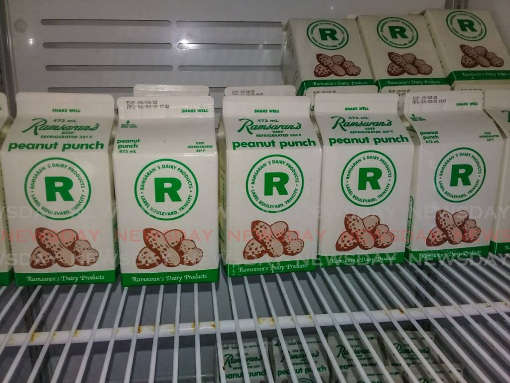 Cartons of Ramsaran's Peanut Punch on display in Tru Valu, San Juan, on Wednesday afternoon. Tru Valu eventually said it would remove the products from its shelves and join other organisations in a boycott of Ramsaran's products later Wednesday. SUREASH CHOLAI