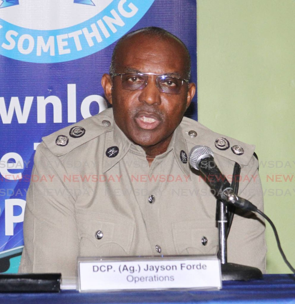 Acting DCP Jayson Forde, speaks to reporters at the weekly media briefing, Police Administration Building, Port of Spain on Friday. - Angelo Marcelle