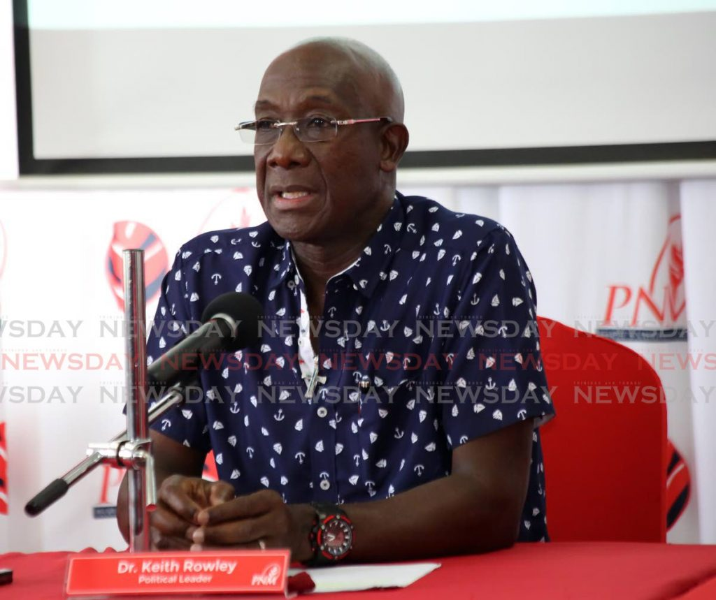 PM Dr Keith Rowley during a press conference at Baliser House in Port of Spain. - SUREASH CHOLAI