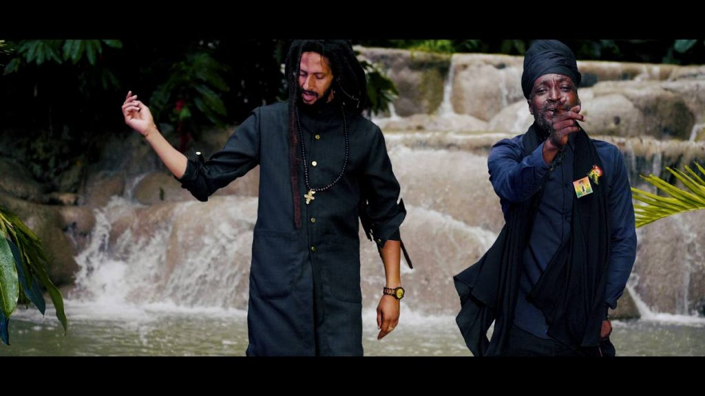 Junior Reid, right, and Julian Marley in a scene fom the music video for their song Mother Nature.  -