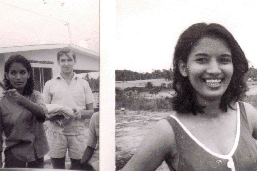 At left Angela and John after they first met and Angela at a beach lime in Granville, Trinidad in the late 60s. - Photo courtesy: The Cropper Foundation
