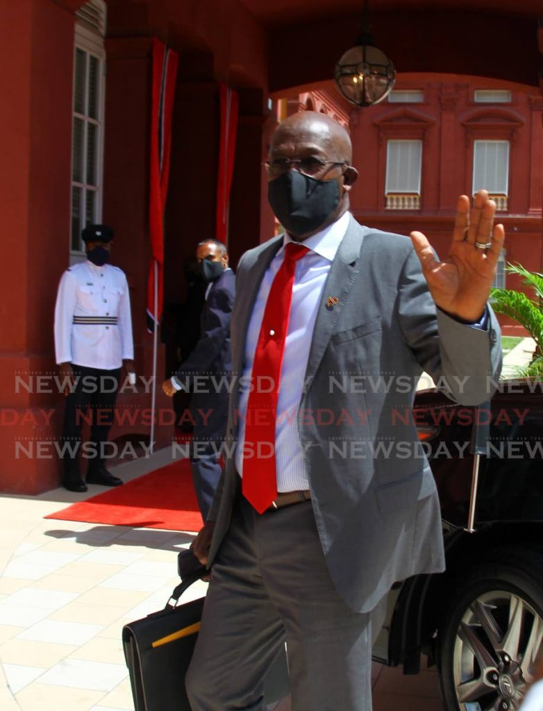 Prime Minister Dr Keith Rowley arrives at the Red House for the sitting of the House of Representatives on Friday. On Saturday, the Prime Minister said from Monday it will be illegal to wear masks. - ROGER JACOB