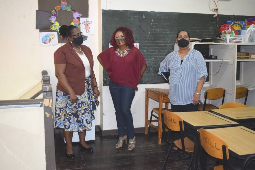 Education Minister Dr Nyan Gadsby-Dolly, centre, Minister in the Education Ministry Lisa Morris -Julian, right with Marsha Williams, principal of Pointe-a-Pierre Government Special School, during a visit on Saturday. PHOTO COURTESY MINISTRY OF EDUCATION -