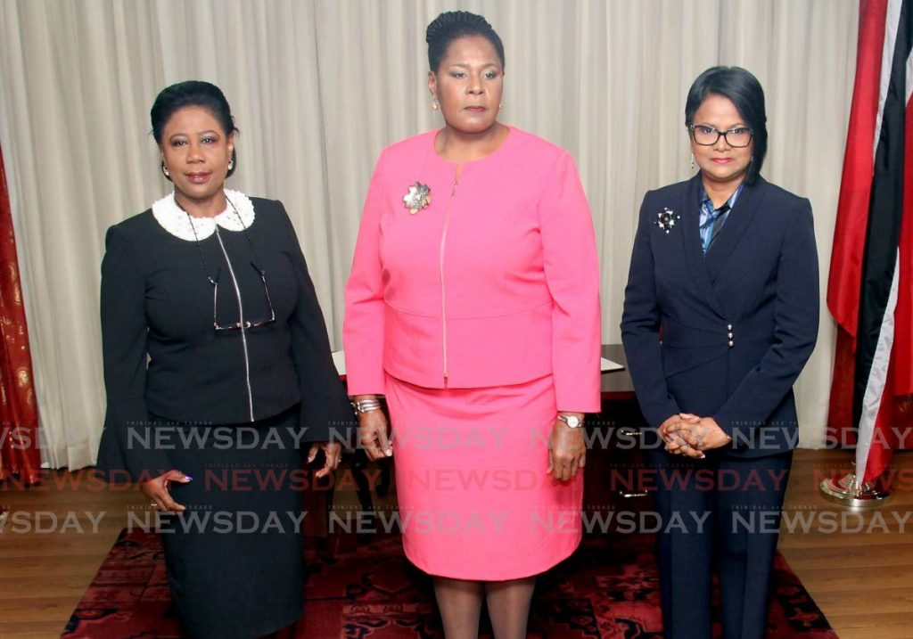 In this January 29, 2018 file photo, President Paula Mae Weekes meets Speaker Bridgid Annisette-George and Senate President Christine Kangaloo. The President has said the Speaker and Senate President remain in office until the new parliamentary term begins. The government also remains in office following the August 11 general election in which a recount is on in five constituencies.   - Angelo Marcelle