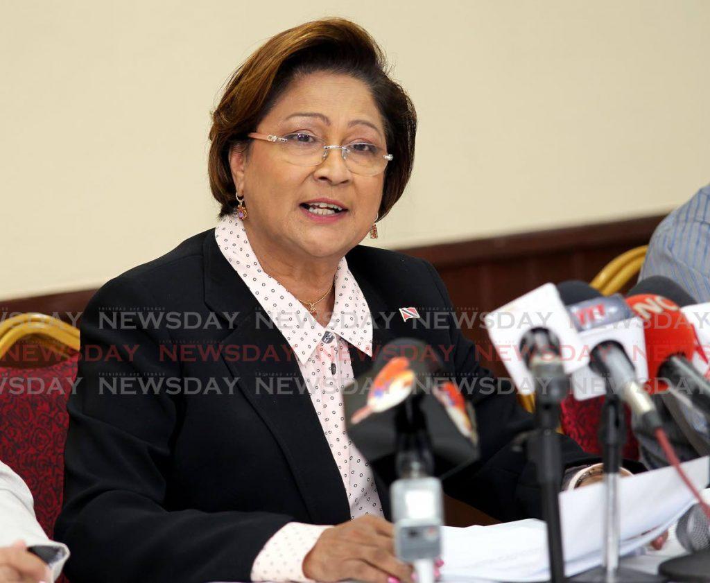 UNC leader Kamla Persad Bissessar. -