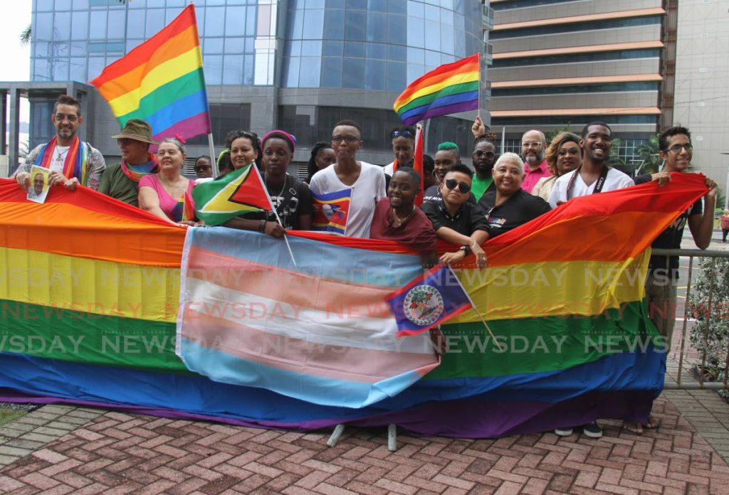 In this June 28, 2019 file photo members of Pride TT protest outside Parliament at the International Waterfront, Port of Spain. Parliament has since returned to the Red House and the LGBTI+ community is still lobby for equality in the law. - Ayanna Kinsale