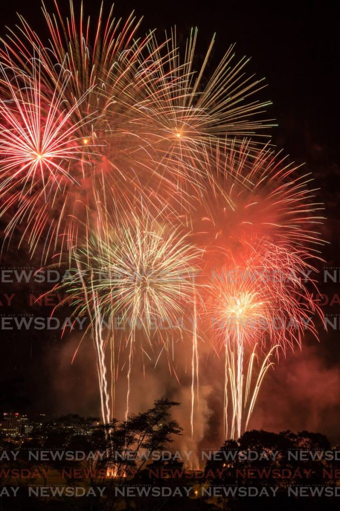 Fireworks light up the sky over the Queen's Park Savannah, Port of Spain as part of Independence Day celebrations last year. - Jeff Mayers