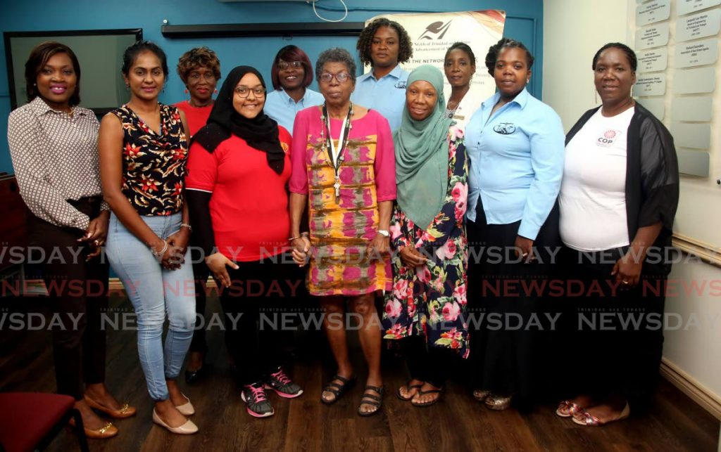 In this November 21, 2019 file photo, Hazel Brown, (front, centre) founding member of the Network of NGOs of TT for the Advancement of Women, pose with ten candidates in the 2019 local government election at the network's office, Fitzblackman Drive, Woodbrook. The network raised $13,000 to share among 15 candidates last year.  PHOTOS BY SUREASH CHOLAI -