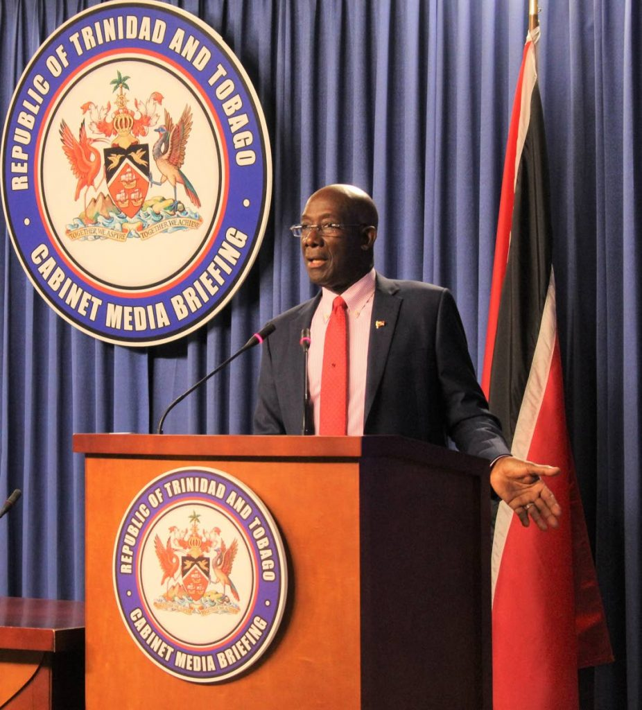 Prime Minister Dr Keith Rowley during a post-Cabinet media briefing on May 28, 2020.  - Office of the Prime Minister
