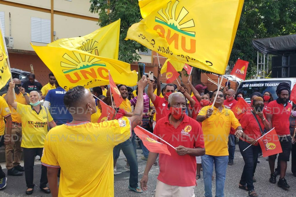 PNM and UNC supporters outside the office of the returning officer for the St Joseph constituency on nomination day on June 17. PHOTO BY ROGER JACOB -