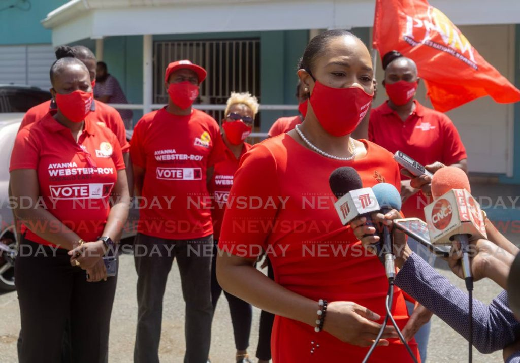 PNM Tobago East candidate Shamfa Cudjoe is interviewed after filing nomination papers on August 17. -