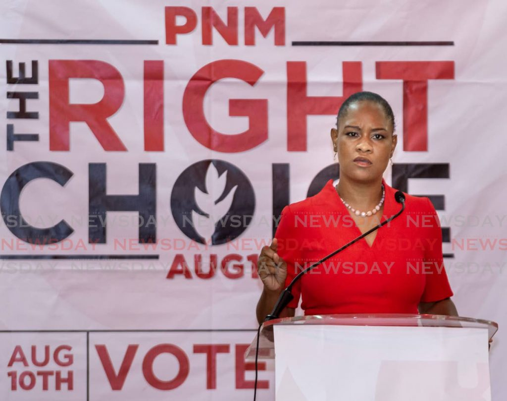 PNM Tobago East candidate Ayanna Webster-Roy at a PNM meeting recently. -