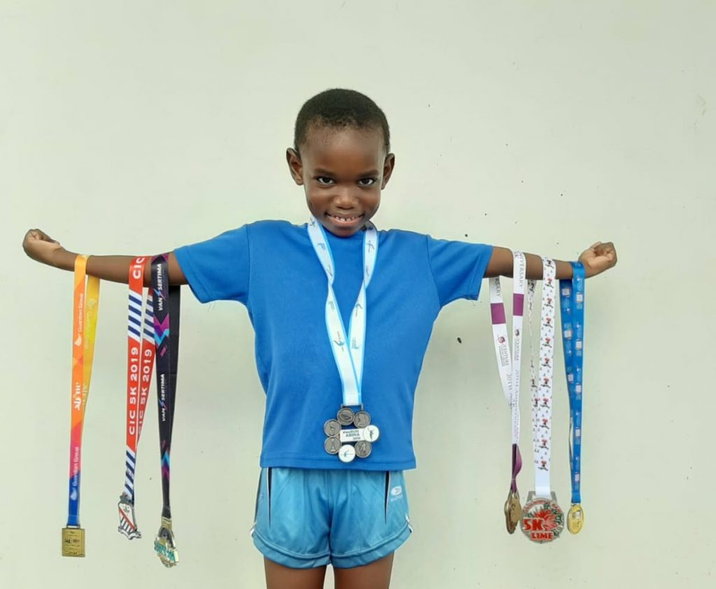 Khari John won ten medals in track and field last year. The Cunapo St Francis Primary School student and Fire Fitness Athletic Club member is eager to start competing again. -