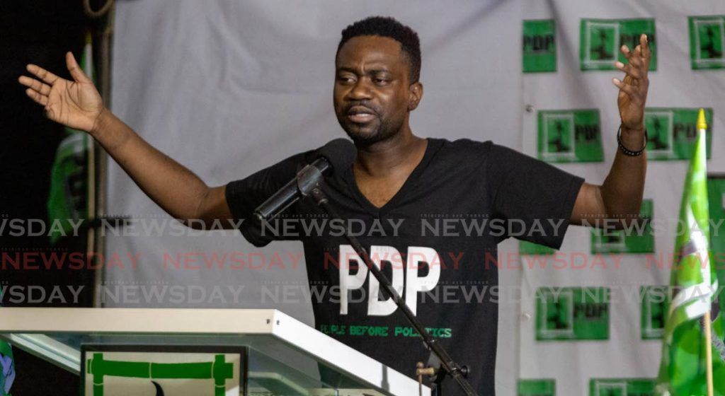 Progressive Democratic Patriots deputy leader Farley Augustine at a recent political meeting. PHOTO BY DAVID REID  -