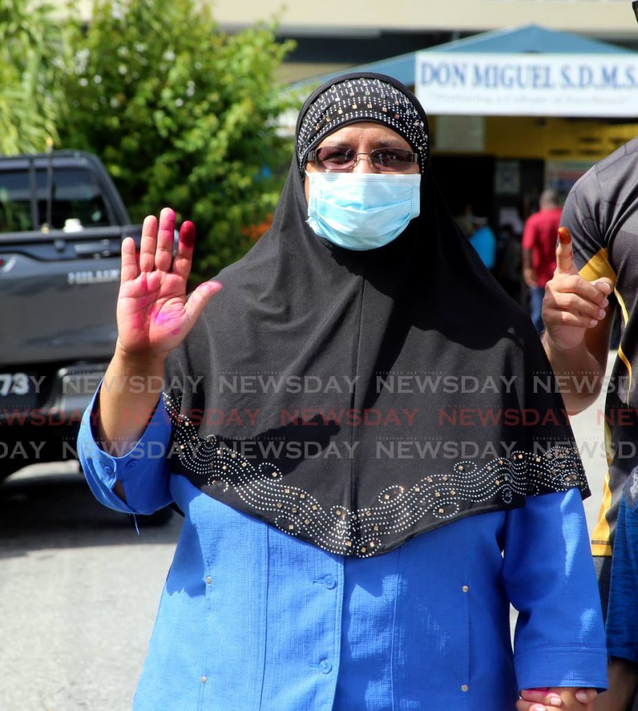 IN this August 10, 2020 file photo, attorney and former PNM deputy leader Nafeesa Mohammed after voting in the general election at Don Miguel Hindu School in the San Juan/Barataria constituency. Mohammed on Saturday made an appeal for Government bring home 87 Muslims in a refugee camp in Syria. - SUREASH CHOLAI