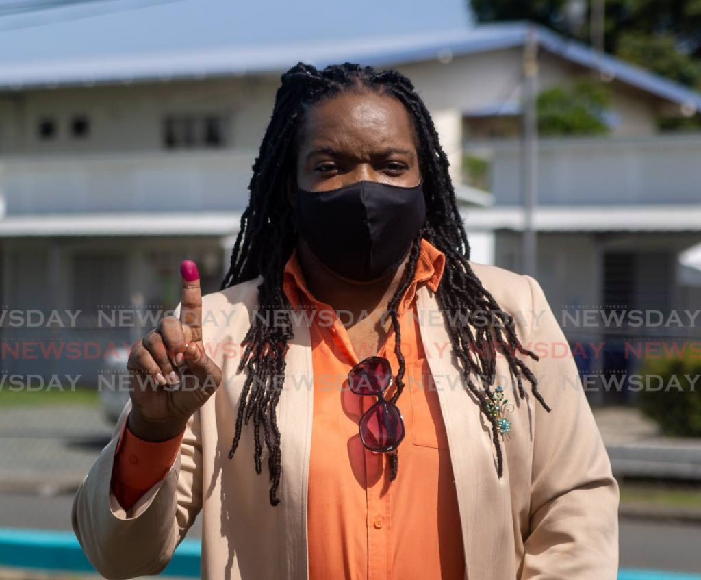Nickocy Phillips, representing Unity of the People, after voting at the Buccoo Community Centre in the general election. PHOTO BY DAVID REID -