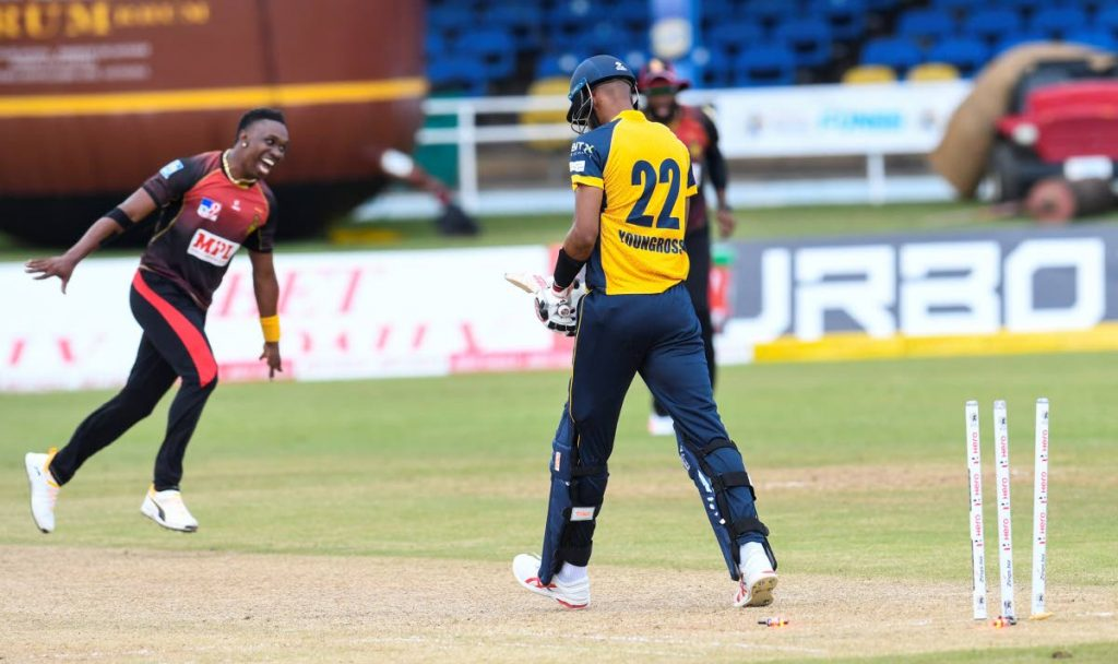 In this August 26 file photo, Roston Chase (R) of St Lucia Zouks is dismissed by Dwayne Bravo (L) of Trinbago Knight Riders during the Hero Caribbean Premier League match 13,at Queen's Park Oval. Both teams will face each other in the final, on Thursday. - CPL T20 via Getty Images