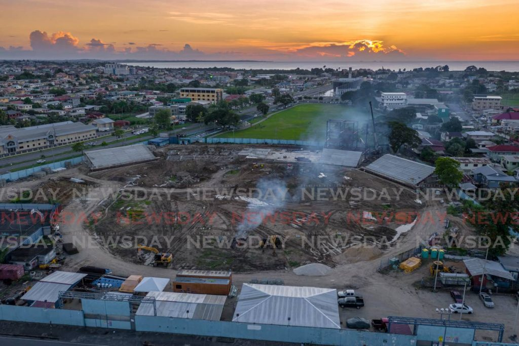 The renovation of Skinner Park continues in San Fernando at sunset on Friday. The works are being executed by Yorke Stuctures at a cost of $200 million. - Jeff K. Mayers
