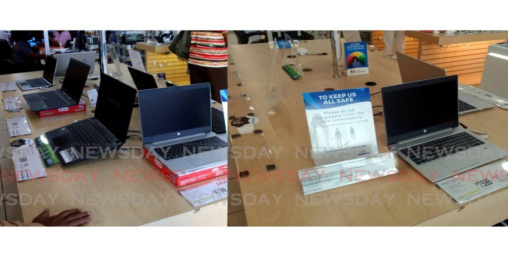 The photo on the left was taken on August 28 and the one on the right on Monday of the same laptop display  at a Courts oultet on Frederick Street, Port of Spain. Most of the devices have been sold in recent weeks as demand for laptops has increased for use in educational activities. - ROGER JACOB