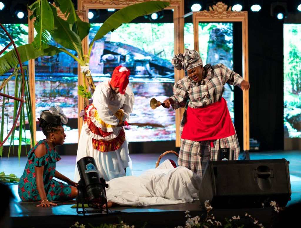 Shaquan Alleyne, Ms Mt St George Police Youth Club, portrays an obeah women attending to a young girl with a suspicious pregnancy during the Tobago Heritage Festival last month. A board has been appointed to the Tobago Performing Arts Company. -
